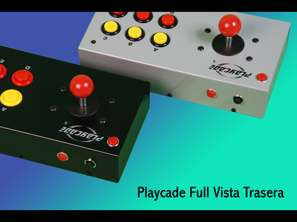 PLAYCADE modelo FULL: vista posterior, los botones TURBO on y TURBO off (AUTOFIRE)